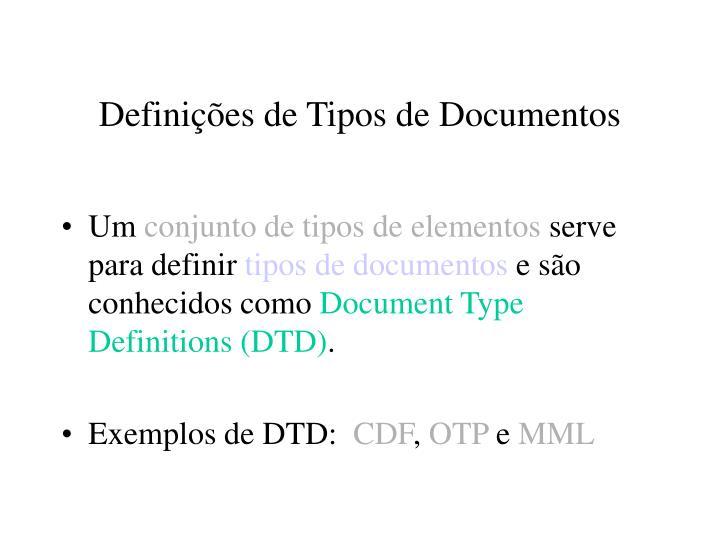 Definições de Tipos de Documentos