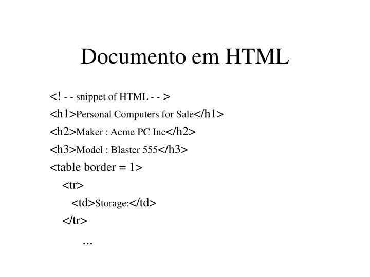Documento em HTML