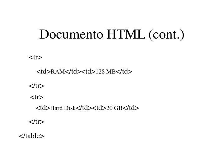 Documento HTML (cont.)