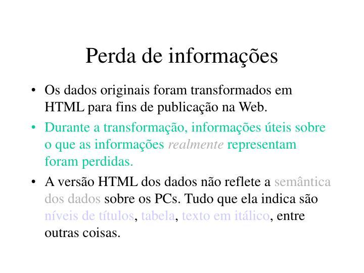 Perda de informações