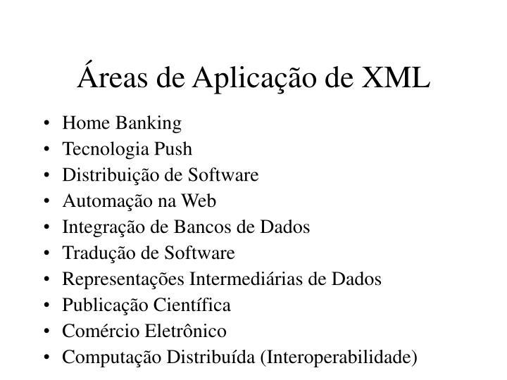 Áreas de Aplicação de XML