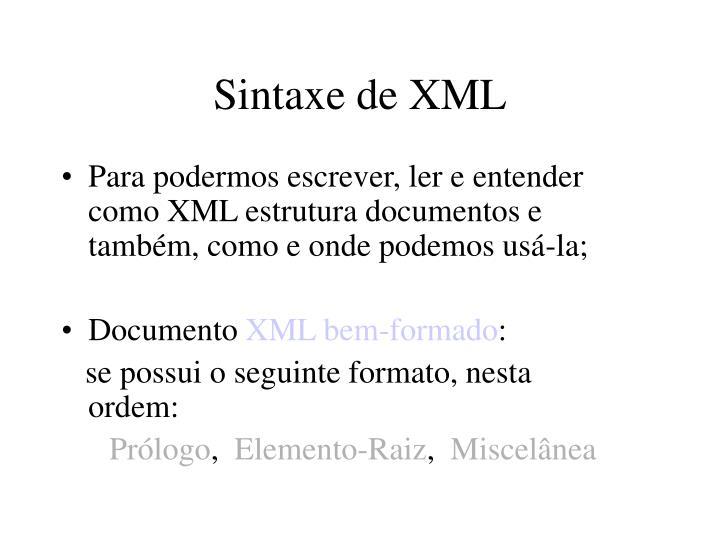 Sintaxe de XML