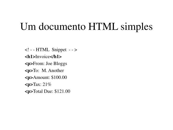 Um documento HTML simples