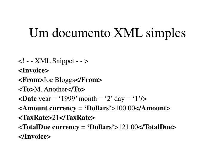 Um documento XML simples