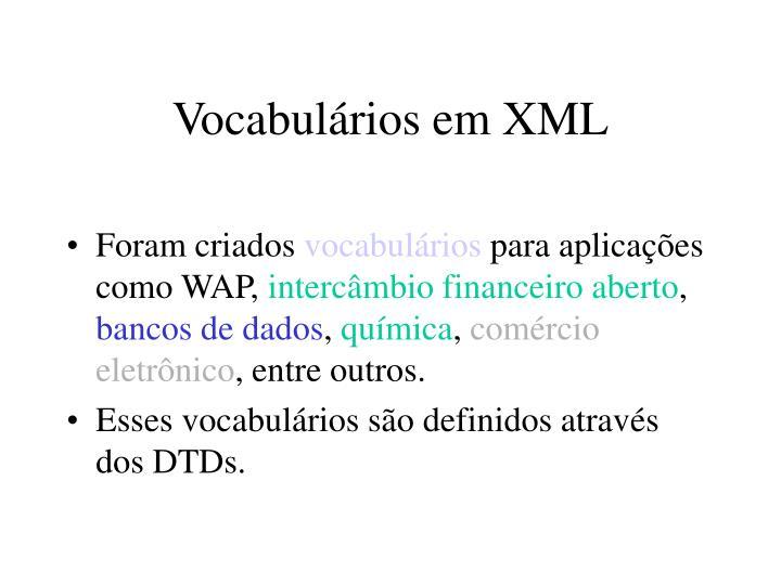 Vocabulários em XML