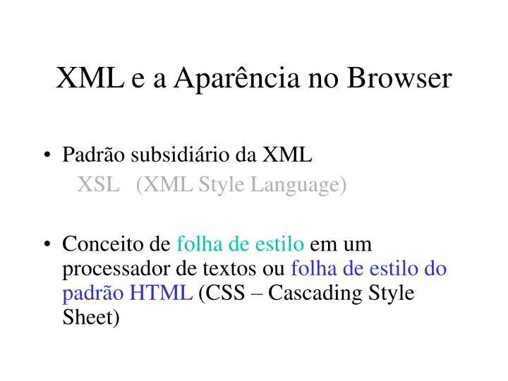 XML e a Aparência no Browser