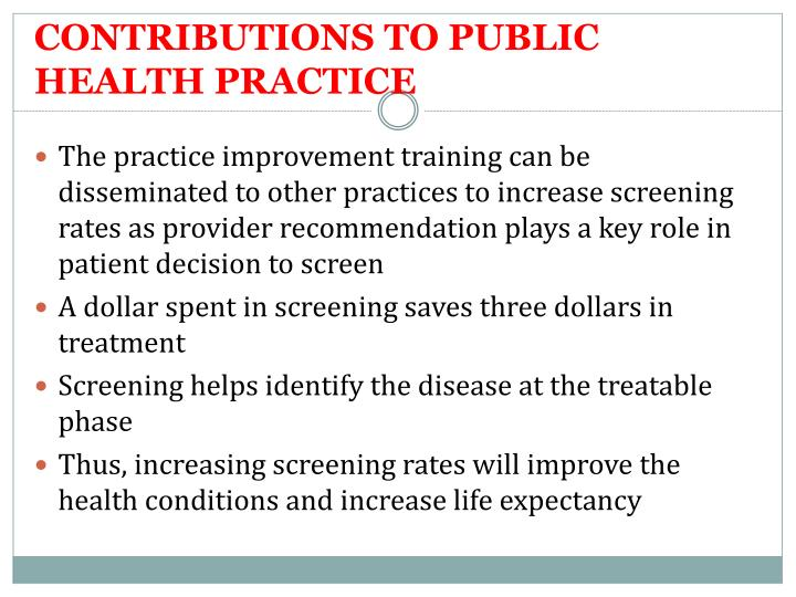 CONTRIBUTIONS TO PUBLIC HEALTH PRACTICE