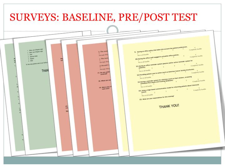 SURVEYS: BASELINE, PRE/POST TEST