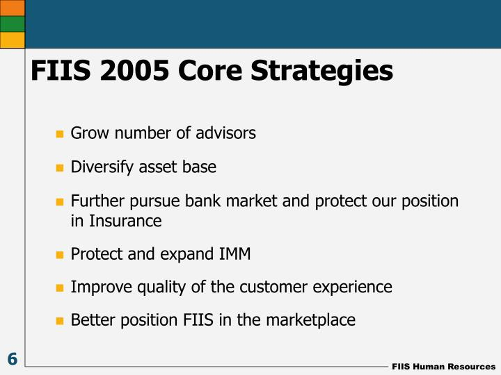 FIIS 2005 Core Strategies