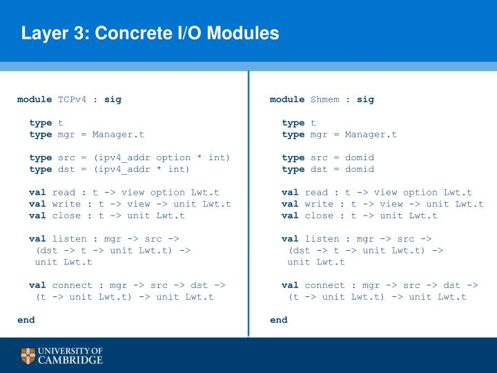 Layer 3: Concrete I/O Modules