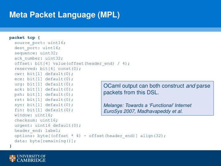 Meta Packet Language (MPL)