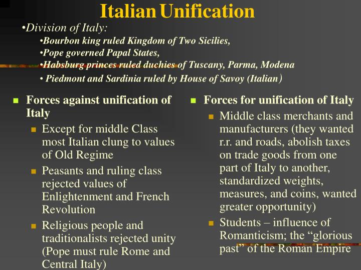 Forces against unification of Italy