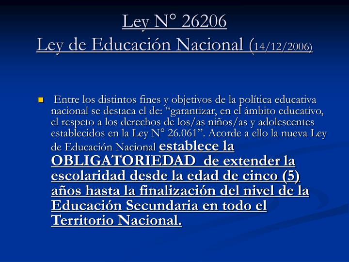 Ley N° 26206