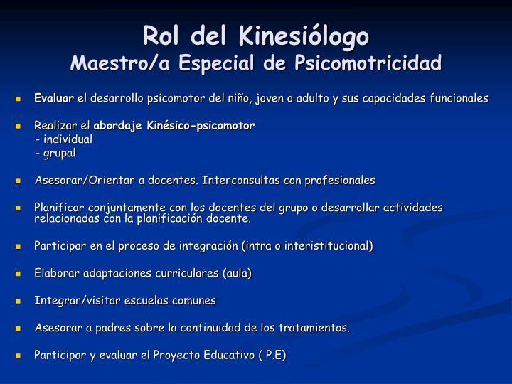 Rol del Kinesiólogo