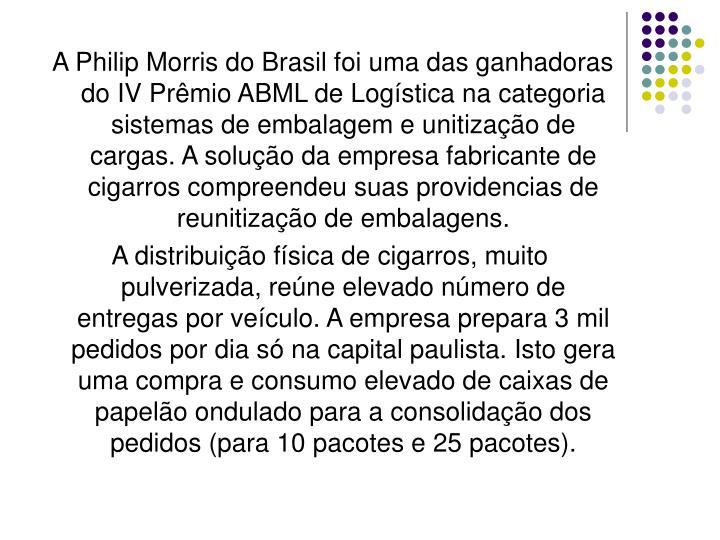 A Philip Morris do Brasil foi uma das ganhadoras do IV Prêmio ABML de Logística na categoria sistemas de embalagem e unitização de cargas. A solução da empresa fabricante de cigarros compreendeu suas providencias de reunitização de embalagens.