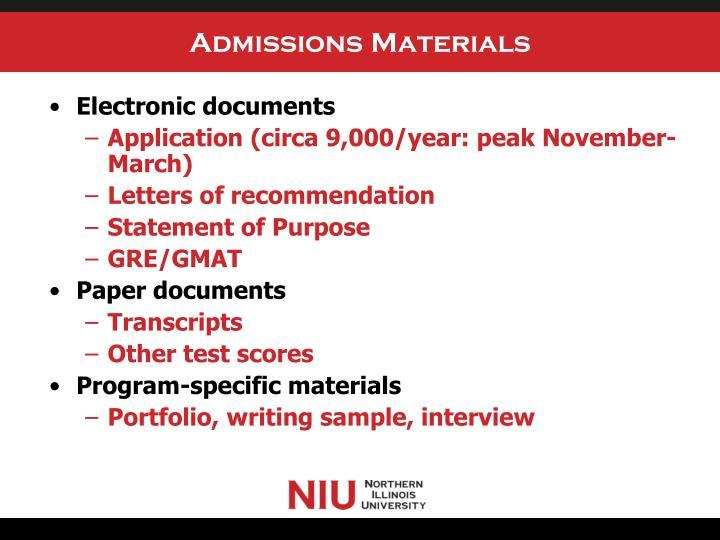 Admissions Materials