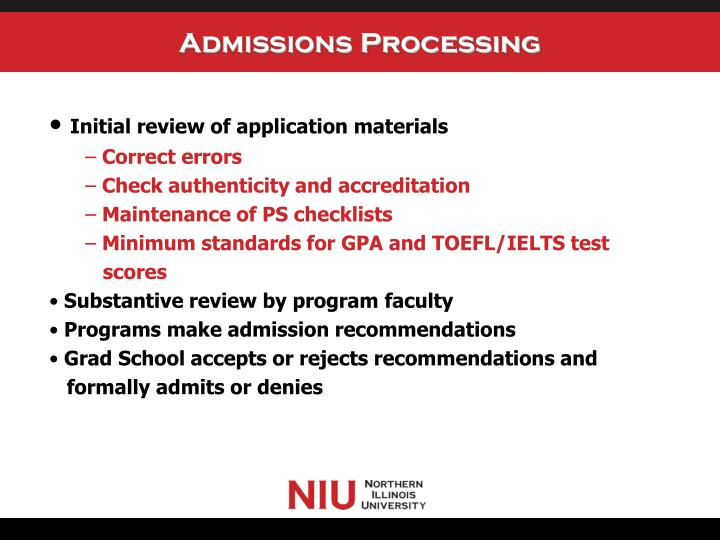 Admissions Processing