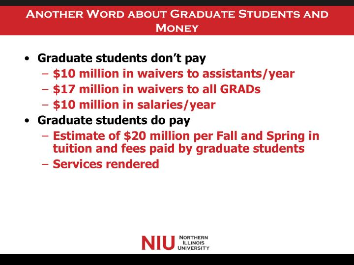 Another Word about Graduate Students and Money