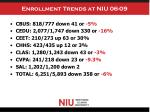 enrollment trends at niu 06 09