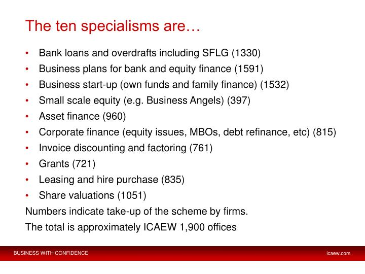 The ten specialisms are…