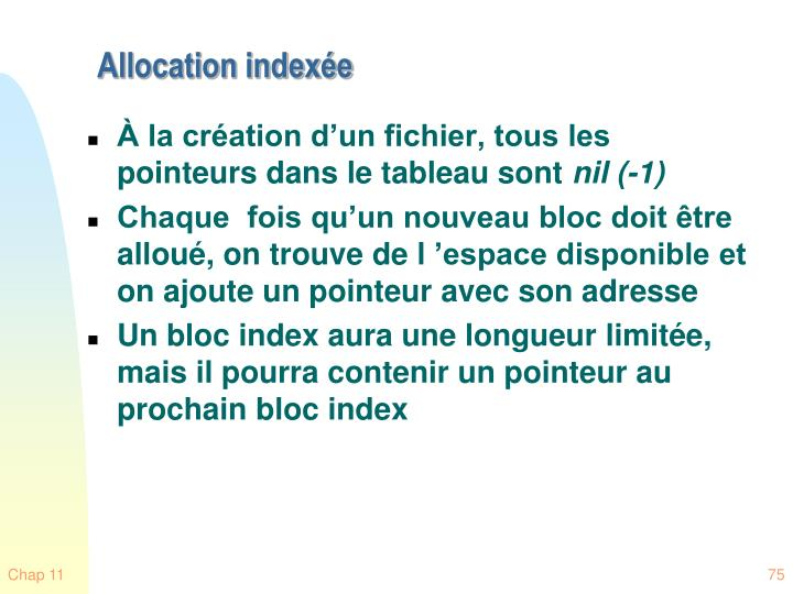Allocation indexée