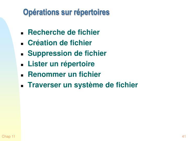 Opérations sur répertoires