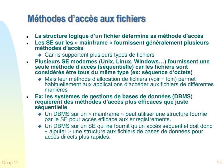 Méthodes d'accès aux fichiers