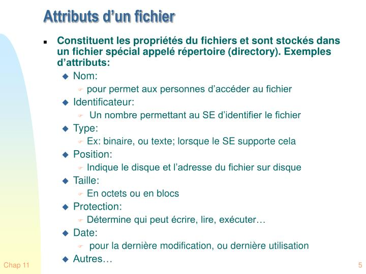 Attributs d'un fichier