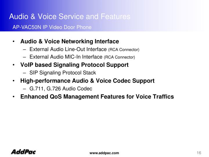 Audio & Voice Service and Features