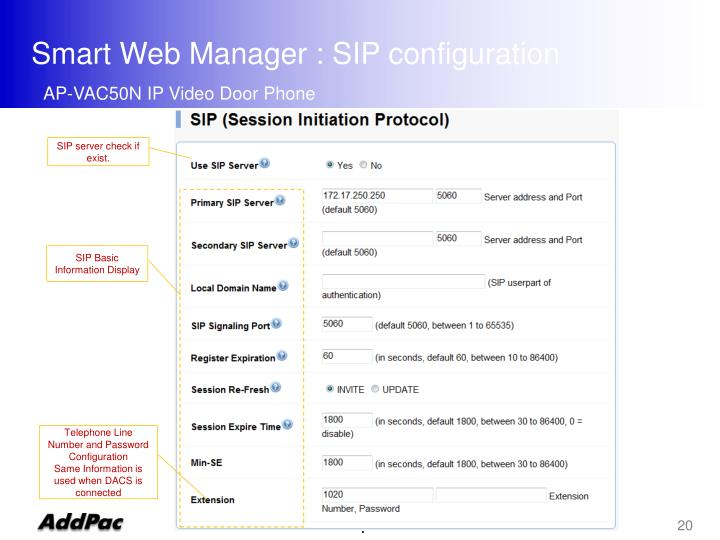 Smart Web Manager : SIP configuration