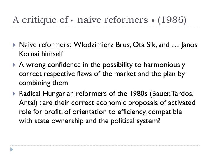 A critique of « naive reformers » (1986)