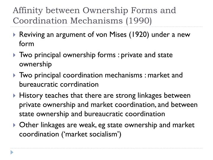 Affinity between Ownership Forms and Coordination Mechanisms (1990)