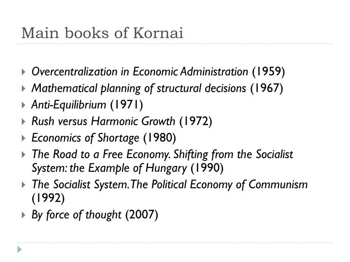 Main books of kornai
