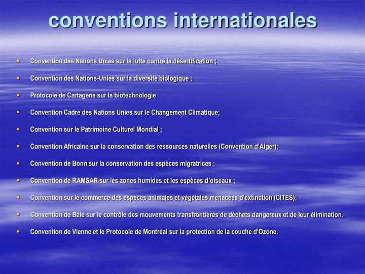 conventions internationales