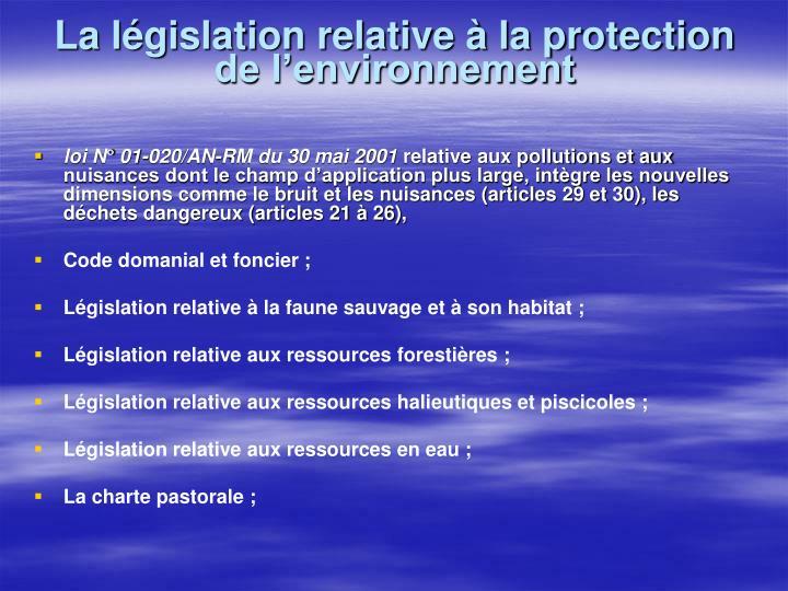 La législation relative à la protection de l'environnement