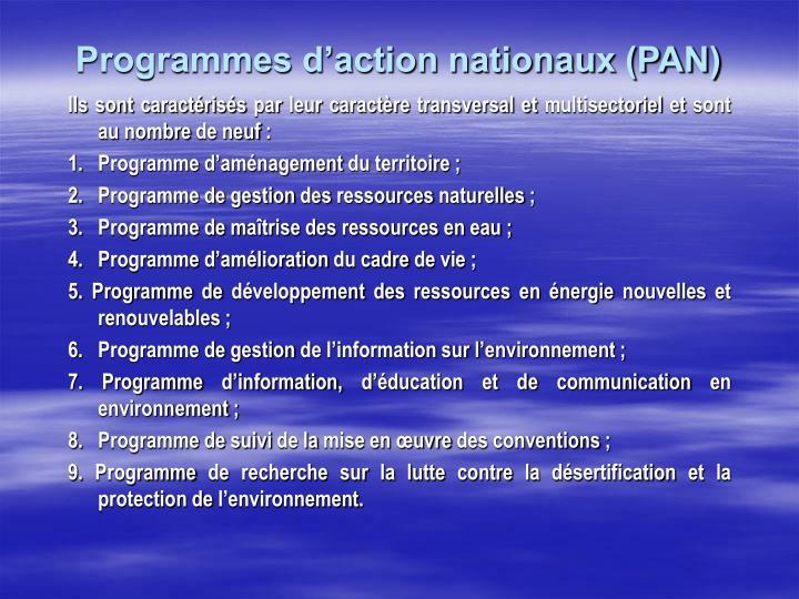 Programmes d'action nationaux (PAN)