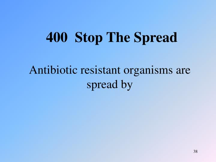 Antibiotic resistant organisms are spread by