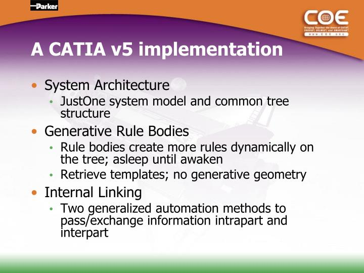 A CATIA v5 implementation