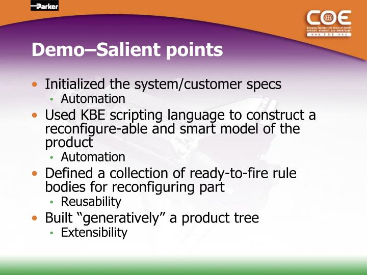Demo–Salient points