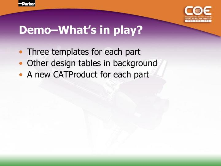 Demo–What's in play?