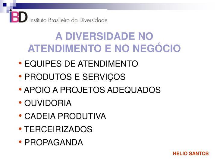 A DIVERSIDADE NO ATENDIMENTO E NO NEGÓCIO