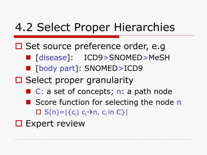 4.2 Select Proper Hierarchies