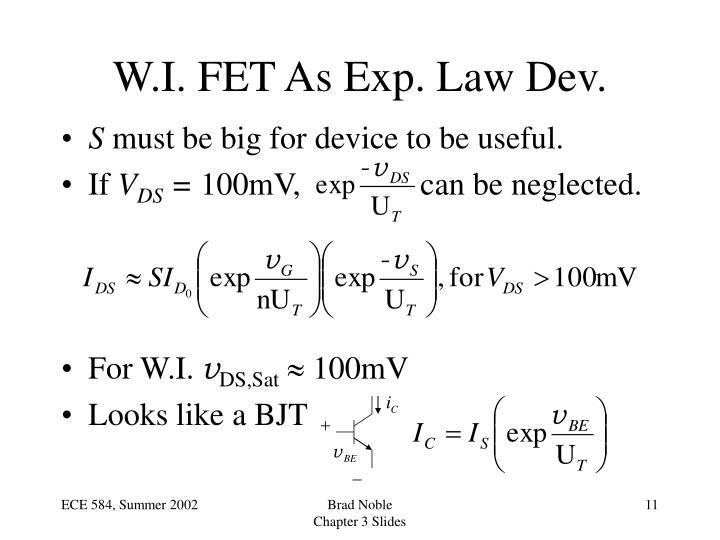 W.I. FET As Exp. Law Dev.