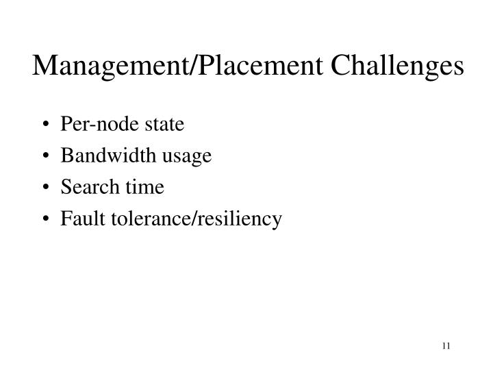 Management/Placement Challenges