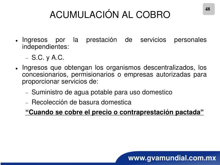 ACUMULACIÓN AL COBRO