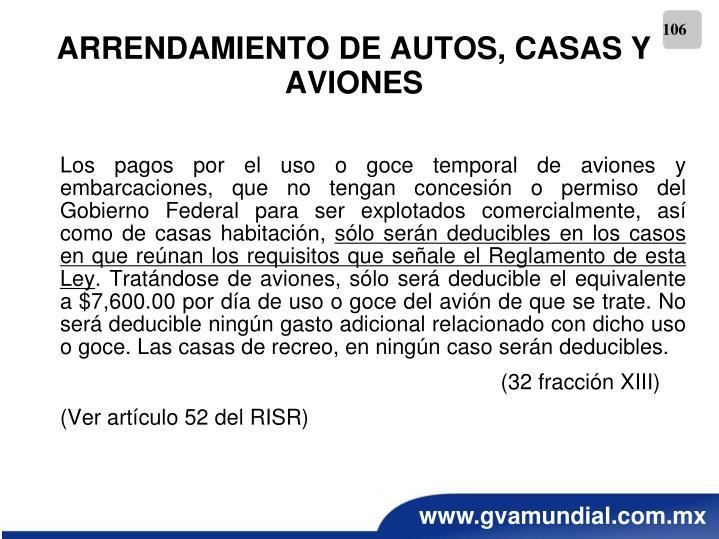 ARRENDAMIENTO DE AUTOS, CASAS Y AVIONES