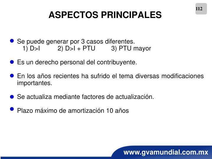 ASPECTOS PRINCIPALES