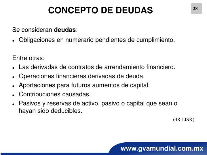CONCEPTO DE DEUDAS