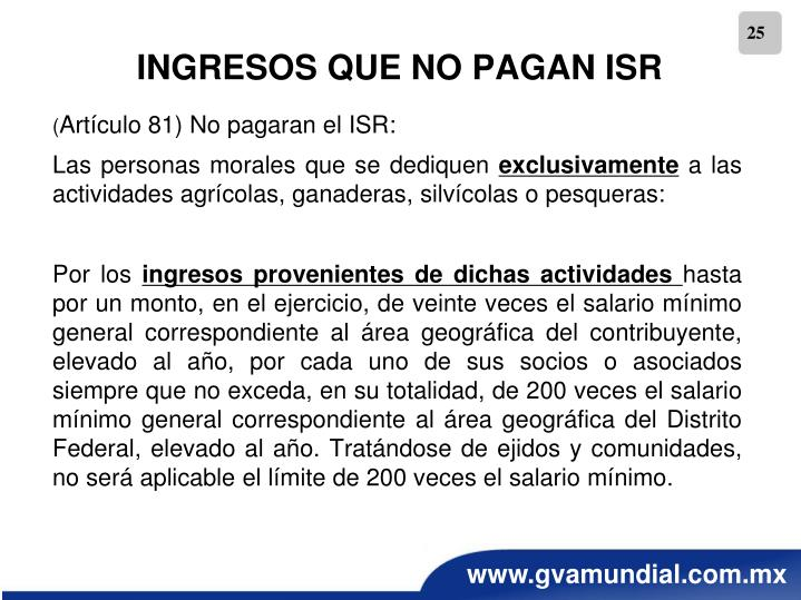 INGRESOS QUE NO PAGAN ISR