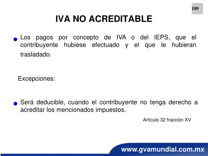 IVA NO ACREDITABLE